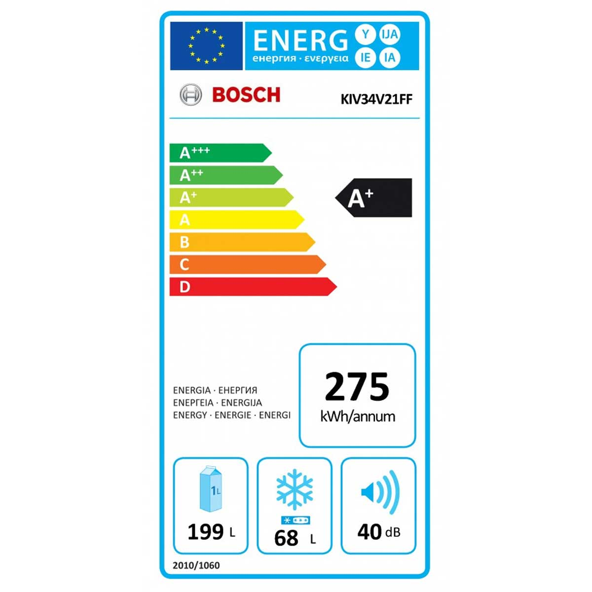 Bosch KIV34V21FF etichetta energetica