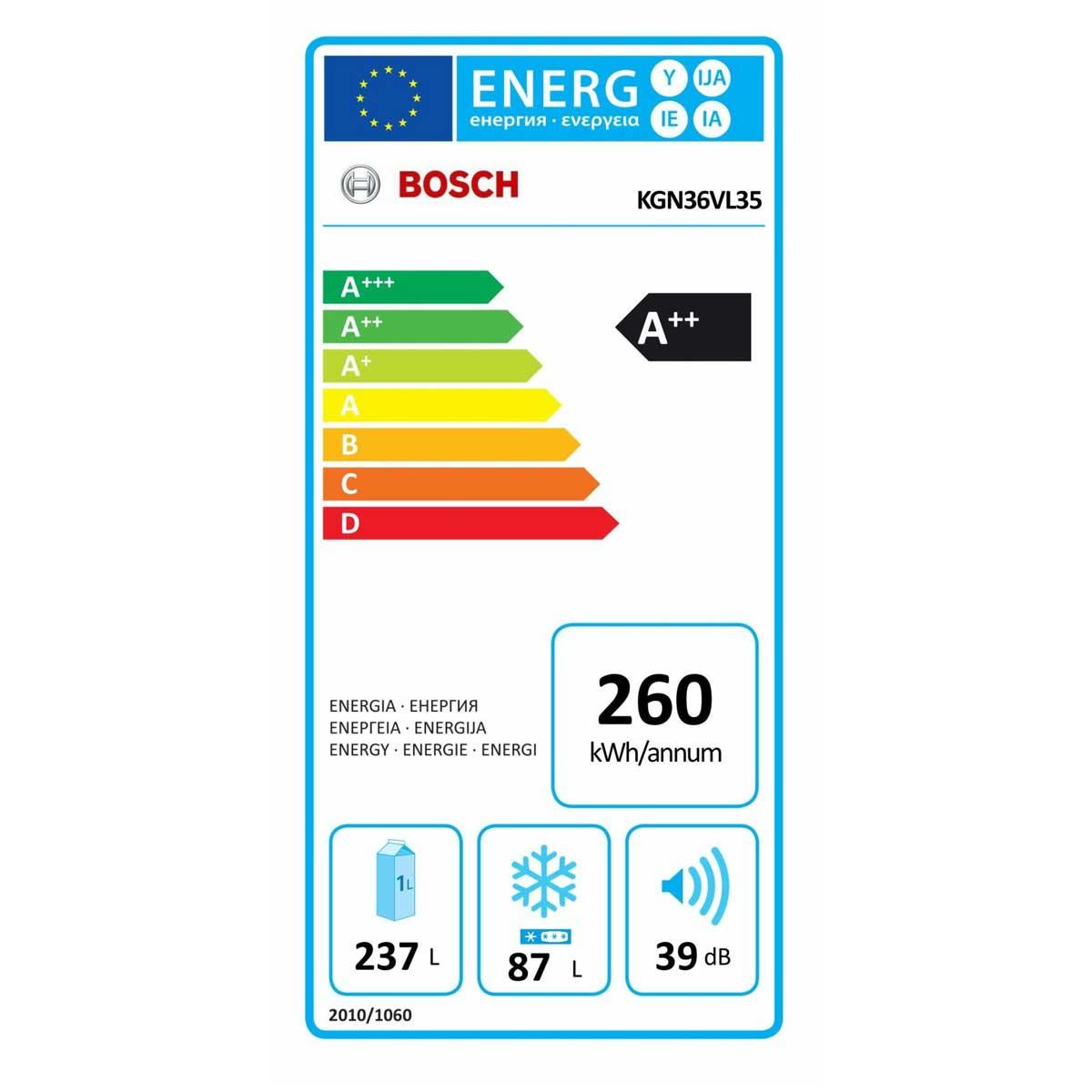BOSCH KGN36VL35  etichetta energetica