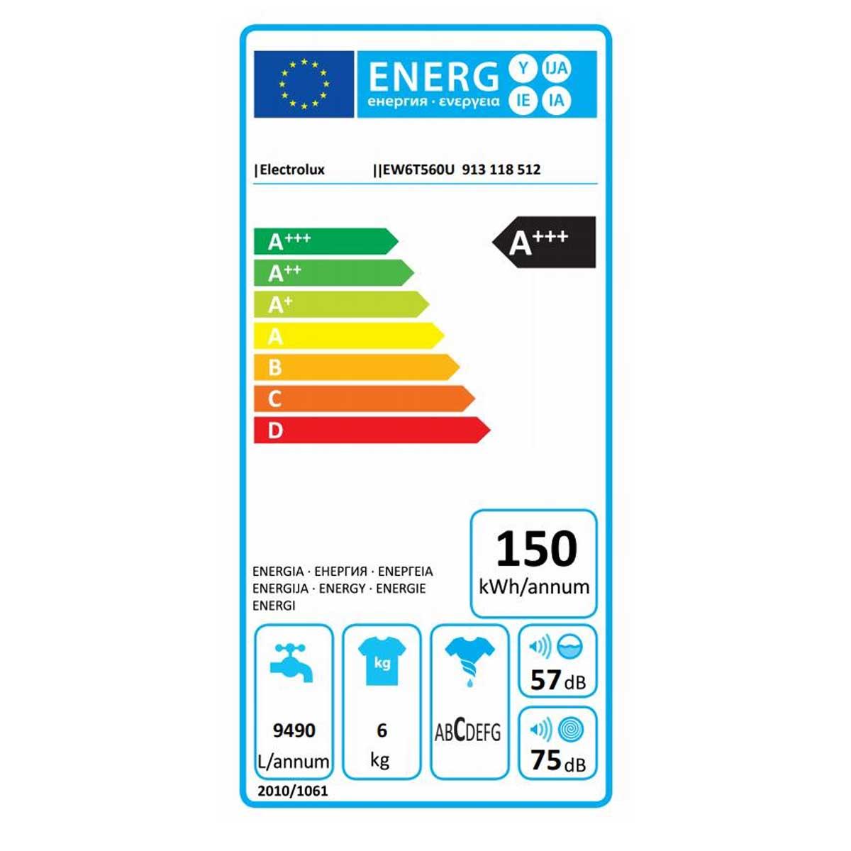 etichetta energetiva ELECTROLUX EW6T560U