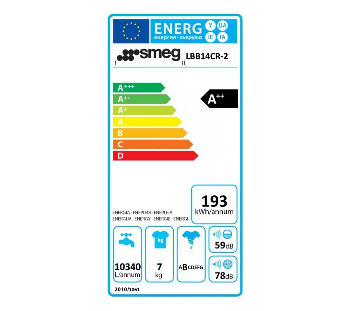 Etichetta energetica Lavatrice Smeg LBB14CR2