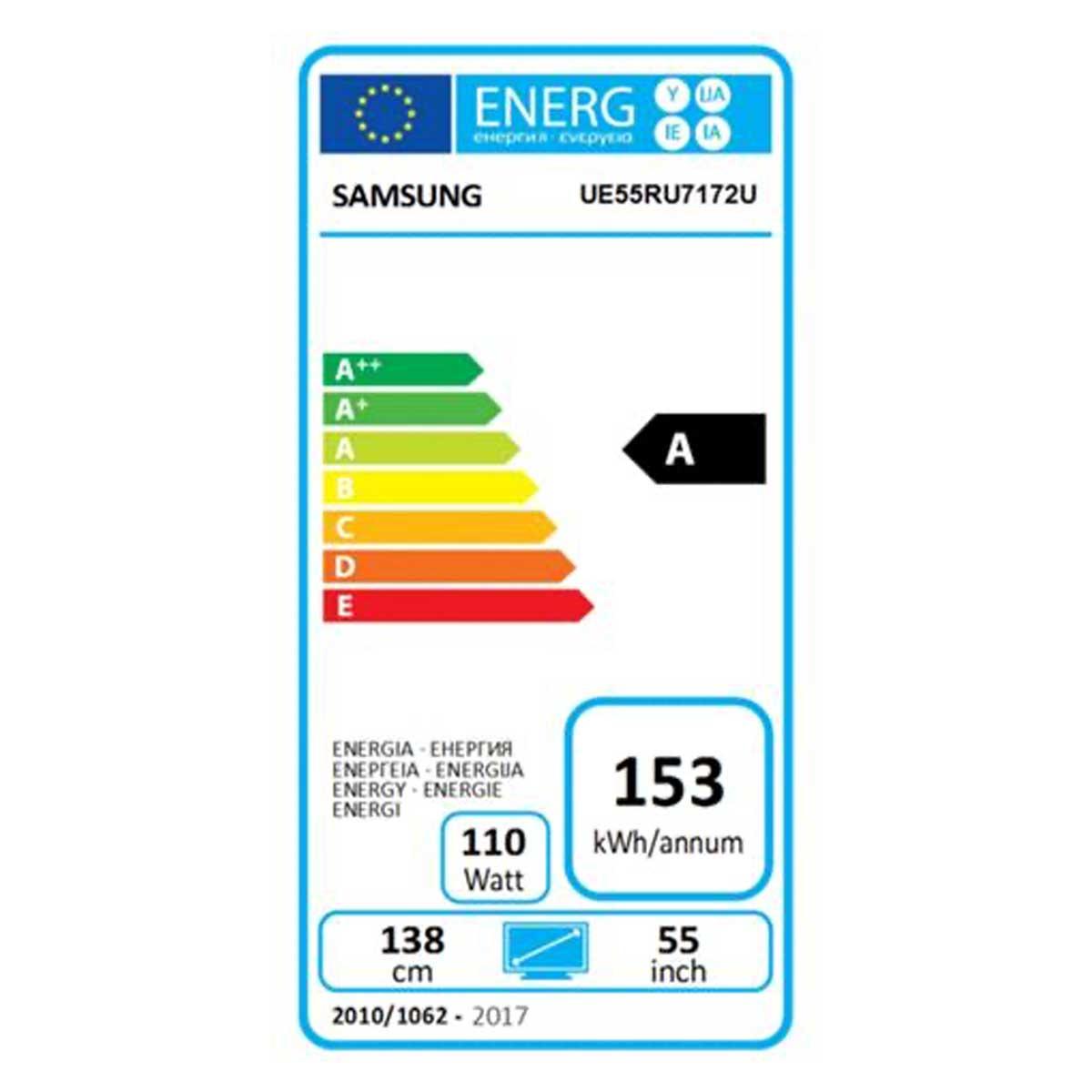 etichetta energetica Samsung UE55RU7172U