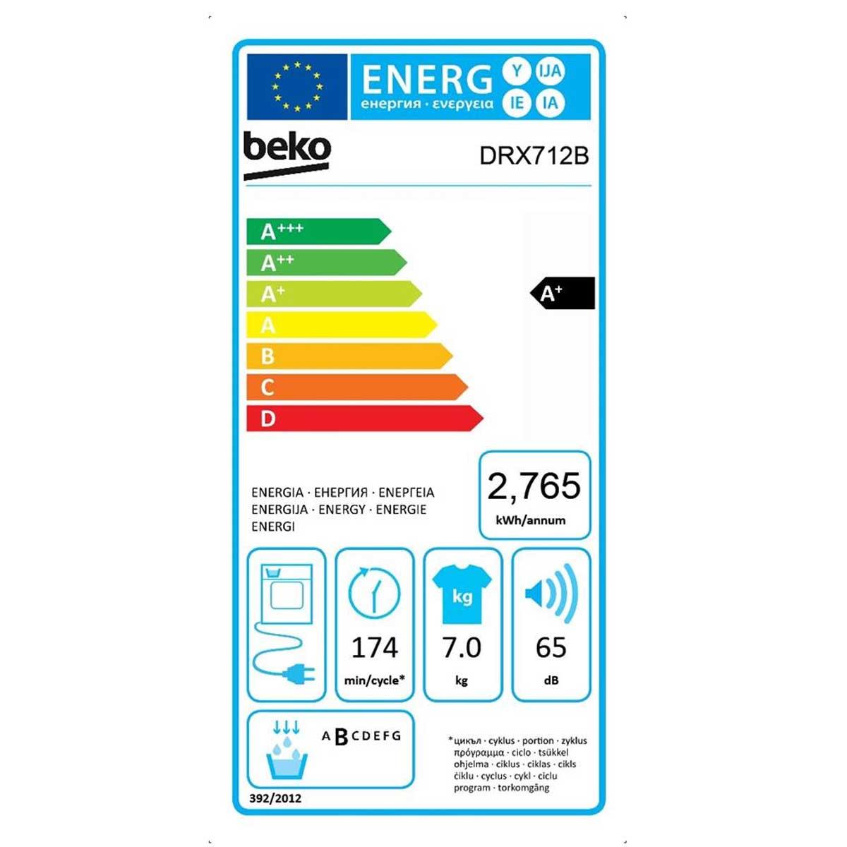 Beko DRX712B etichetta energetica