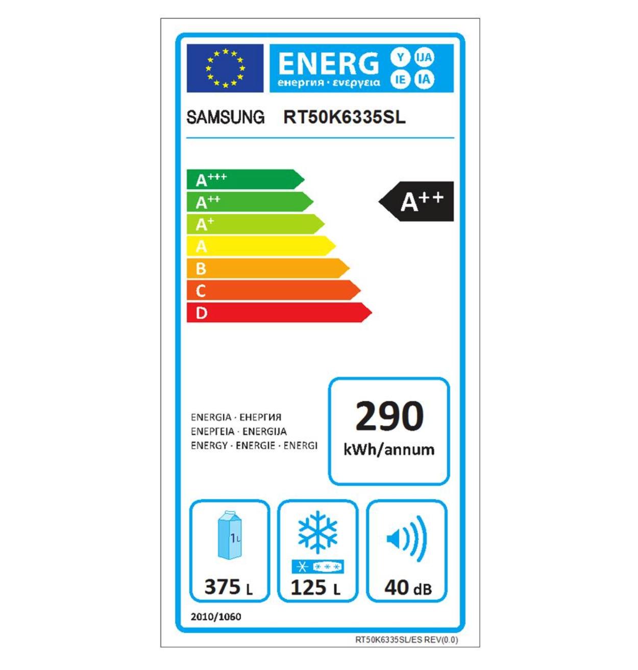etichetta energetica Samsung RT50K6335SL